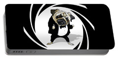 James Bond Pug Caricature Art Print Portable Battery Charger