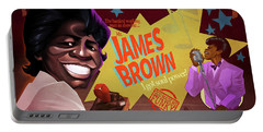 Portable Battery Charger featuring the drawing James Brown by Nelson Dedos Garcia