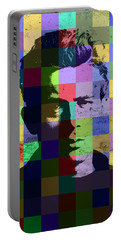 James Dean Actor Hollywood Pop Art Patchwork Portrait Pop Of Color Portable Battery Charger by Design Turnpike