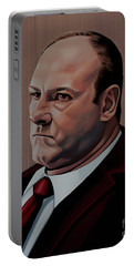 James Gandolfini Painting Portable Battery Charger by Paul Meijering