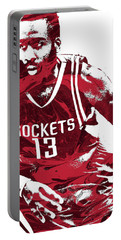 James Harden Houston Rockets Pixel Art 3 Portable Battery Charger