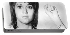 Jane Fonda Mug Shot Vertical Portable Battery Charger by Tony Rubino