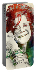 Janis Joplin Portable Battery Charger by Mihaela Pater