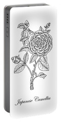 Japanese Camellia Flower Botanical Drawing  Portable Battery Charger