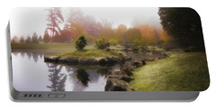 Japanese Garden In Early Autumn Fog Portable Battery Charger