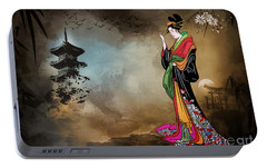 Portable Battery Charger featuring the digital art Japanese Girl With A Landscape In The Background. by Andrzej Szczerski