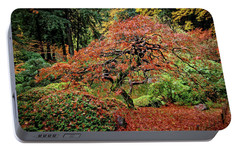 Portable Battery Charger featuring the photograph Japanese Maple At The Japanese Gardens Portland by Thom Zehrfeld