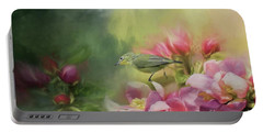 Japanese White-eye On A Blooming Tree Portable Battery Charger by Eva Lechner