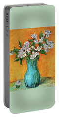 Jasmine Flowers In A Blue Pot Portable Battery Charger