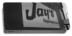 Portable Battery Charger featuring the photograph Jay's Department Store In Bw by Doug Camara
