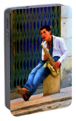 Portable Battery Charger featuring the photograph Jazz In The Street by David Dehner
