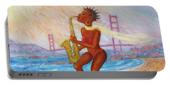 Portable Battery Charger featuring the painting Jazz San Francisco by Xueling Zou