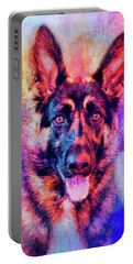 Jazzy German Shepherd Colorful Dog Art By Jai Johnson Portable Battery Charger by Jai Johnson