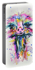 Portable Battery Charger featuring the painting Jazzzy Ostrich by Zaira Dzhaubaeva
