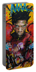 Portable Battery Charger featuring the painting Jean-michel Basquiat by Richard Day