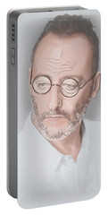 Portable Battery Charger featuring the mixed media Jean Reno by TortureLord Art