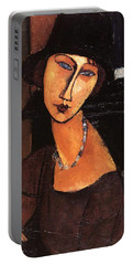 Jeanne Hebuterne With Hat And Necklace Portable Battery Charger