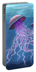 Portable Battery Charger featuring the painting Jellies 2 by Rebecca Parker