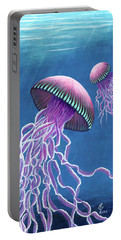 Portable Battery Charger featuring the painting Jellies 3 by Rebecca Parker