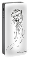 Jellyfish Sketch - Black And White Nautical Theme Decor Portable Battery Charger