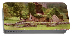 Portable Battery Charger featuring the painting Jerpoint Park - Irish Landscape With Ruins by Menega Sabidussi