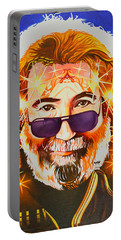Portable Battery Charger featuring the painting Jerry Garcia-dark Star by Joshua Morton