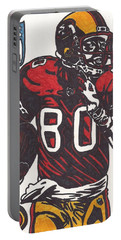 Portable Battery Charger featuring the drawing Jerry Rice by Jeremiah Colley