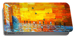 Portable Battery Charger featuring the painting Jerusalem Wailing Wall Original Acrylic Palette Knife Painting by Georgeta Blanaru