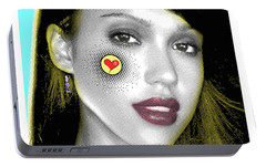 Jessica Alba Pop Art, Portrait, Contemporary Art On Canvas, Famous Celebrities Portable Battery Charger by Dr Eight Love