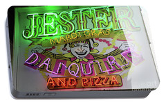 Portable Battery Charger featuring the photograph Jester Mardi Gras Sign by Steven Spak