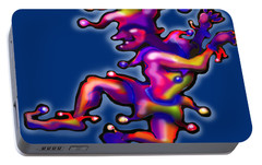 Portable Battery Charger featuring the digital art Jester On Blue by Kevin Middleton