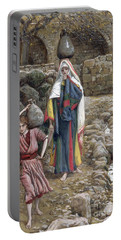 Jesus And His Mother At The Fountain Portable Battery Charger