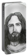 Portable Battery Charger featuring the drawing Jesus Christ by Michael  TMAD Finney