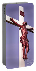 Jesus Crucifix Against The Sky 2 Portable Battery Charger by Gary Whitton