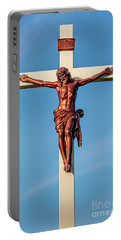 Jesus Crucifix Against The Sky 3 Portable Battery Charger by Gary Whitton