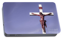 Portable Battery Charger featuring the photograph Jesus Crucifix Against The Sky by Gary Whitton
