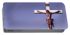 Jesus Crucifix Against The Sky Portable Battery Charger by Gary Whitton