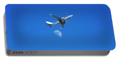 Jet Plane Flying Over The Moon Portable Battery Charger