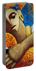 Portable Battery Charger featuring the painting Jibara Y Sol by Oscar Ortiz