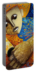 Portable Battery Charger featuring the painting Jibaro Y Sol by Oscar Ortiz