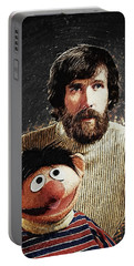 Portable Battery Charger featuring the digital art Jim Henson With Ernie by Taylan Apukovska