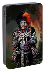 Portable Battery Charger featuring the painting Jimi  by Andrzej Szczerski