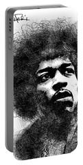 Jimi Hendrix Bw Scribbles Portrait Portable Battery Charger