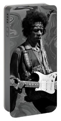 Portable Battery Charger featuring the photograph Jimi Hendrix Purple Haze B W by David Dehner
