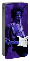 Portable Battery Charger featuring the painting Jimi Hendrix Purple Haze P D P by David Dehner