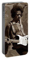 Portable Battery Charger featuring the photograph Jimi Hendrix Purple Haze Sepia by David Dehner