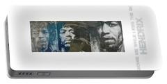 Rock Guitarist Jimi Hendrix Mixed Media Portable Battery Chargers