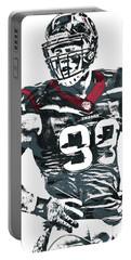 Jj Watt Houston Texans Pixel Art 5 Portable Battery Charger by Joe Hamilton