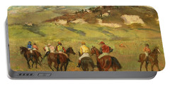 Jockeys On Horseback Before Distant Hills Portable Battery Charger