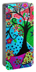 Portable Battery Charger featuring the painting Jodi's Tree Of Life by Pristine Cartera Turkus